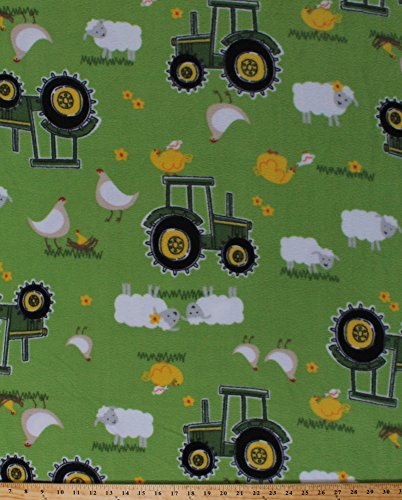 Fleece John Deere Tractors Tractor Chickens Chicken Sheep on Green Farmer Farmland Country Fleece Fabric Print by the Yard (54809-6470710s) Cut Yard Tractor