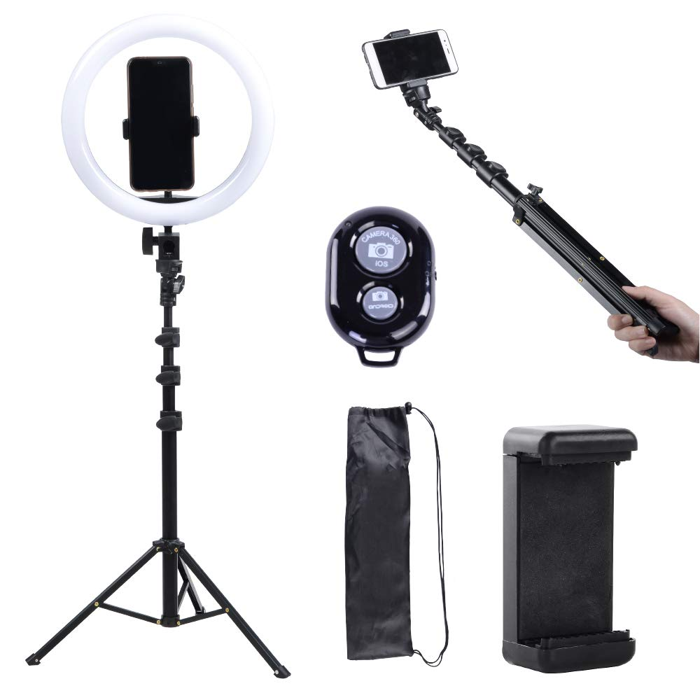 10'' Selfie Ring Light with Tripod Stand, Selfie Stick with Bluetooth Remote, Fugetek 3 in 1 Selfie Kit for Live Stream Video and Photos (Black, 10 inch) by Fugetek