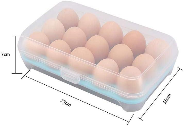 15 F/ächer Eierbeh/älter Blau Plastik Eierbox geeignet f/ür den Au/ßenbereich K/ühlschrank Eier Aufbewahrungsbox tragbare Eierhalter BIGBOBA Eierbox