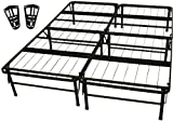 mattress brackets - DuraBed Steel Foundation & Frame-in-One Mattress Support System Foldable Bed Frame with Headboard Attaching Brackets, Queen