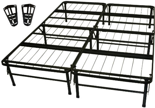 DuraBed Steel Foundation & Frame-in-One Mattress Support System Foldable Bed Frame with Headboard Attaching Brackets, -