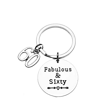 Lukuhan 60th Birthday Keychain Gifts For Men Women Fabulous And Sixty
