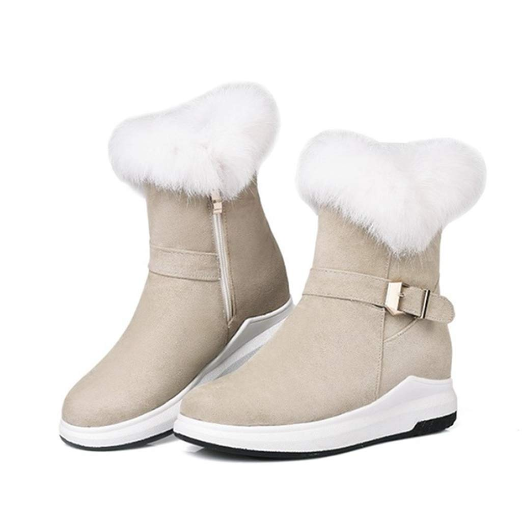 Beige Fay Waters Women's Long Plush Ankle Boots Rabbit Hair Flat Heel Height Increasing Round Toe Winter Snow Booties