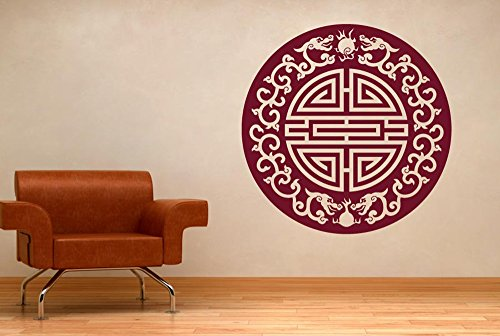 (CUT IT OUT Asian Motif with Floral Dragons Wall Stickers and Art Decals - Large (Height 57cm x Width 57cm) Shiny Gold)