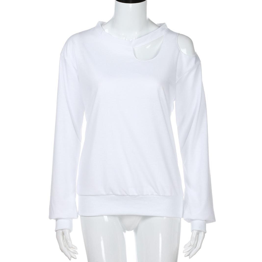Camisas Blancas Elegantes Mujer, LILICAT® 2018 Tops con Hombros Descubiertos de Manga Larga Sexy, Blusa Suelta del O-Cuello de la Manera: Amazon.es: ...