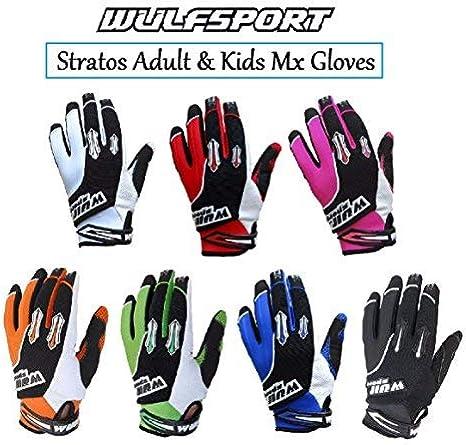 Black XS - 7cm Wulfsport Children Kids Stratos Motocross Motorbike Gloves ATV Dirt Quad Bike Off Road Gloves