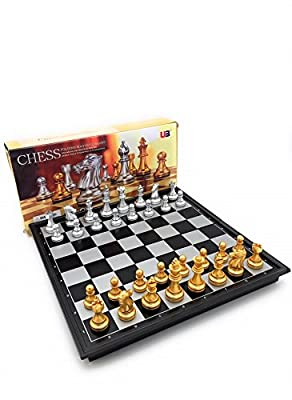 CHESSPRO Magnetic Travel Chess Set 9.7 inch Premium Gold & Silver painted Magnetic Chess Pieces