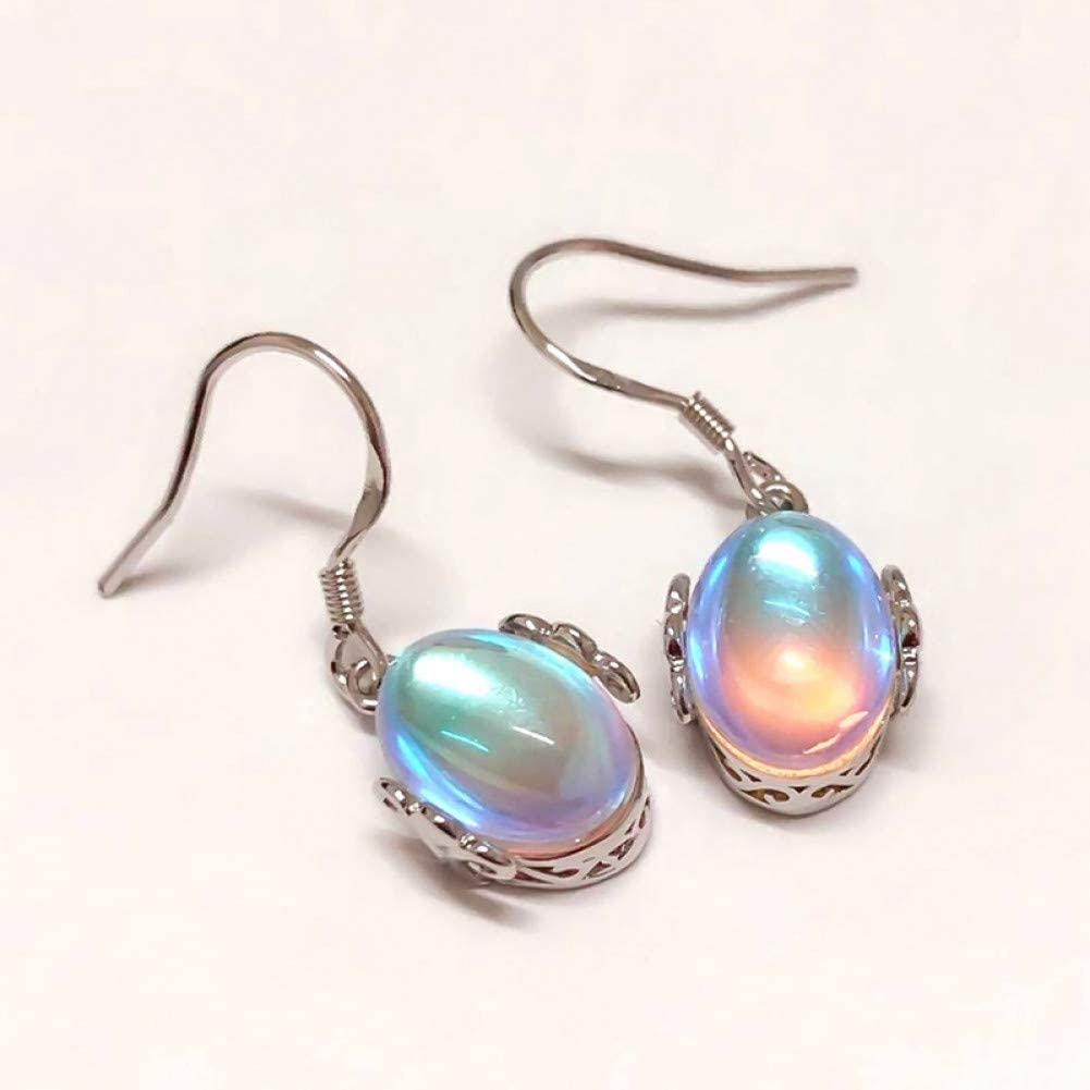ZHQJY Pendientes de lágrima de Piedra Lunar de Cinco Colores Gotitas ovales de Cobre Opal Pendientes Colgantes Mujer Niña