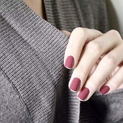 24pcs 12 Different Sizes False Nails Bean Paste Color Short Square Full Cover Nail Art Tips