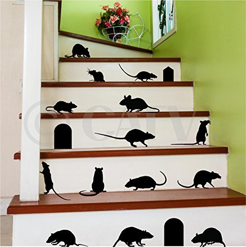 Rats Mice Doors Set of 17 vinyl lettering decal home decor wall art saying halloween ()