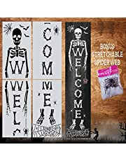 Skeleton Welcome Stencils with Spider Webs - Halloween Templates for a Vertical Skeleton Sign - Stencils for Painting on Wood, Canvas, Glass - Reusable Fall Paint Stencil Set for Signs and DIY Crafts