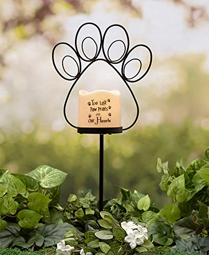 Memorial Stake with Batter Operated Outdoor Candle Choice of Angel, Heart, or Paw Print (Paw Print) (Candle Memorial Heart)