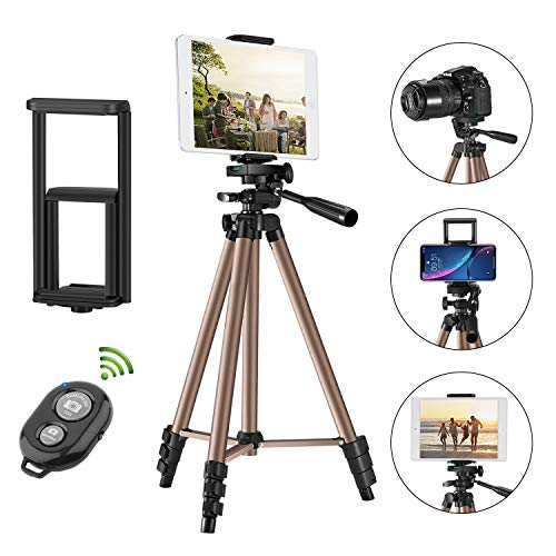 """Tripod for iPad iPhone Camera,50-inch Aluminum Alloy Tripod + Wireless Remote + 2 in 1 Mount Holder for Smartphone (Width 2.2-3.3""""),Tablet (Width 4.3-7.3"""")"""