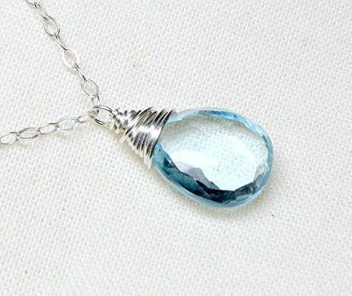 Sky blue topaz necklace, December birthstone jewelry, genuine gemstone, sterling silver dainty chain, large focal birthstone pendant
