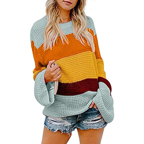 Belgius Women Knit Loose Pullover Sweater Crew Neck Flare Sleeve Striped Tops Blue S