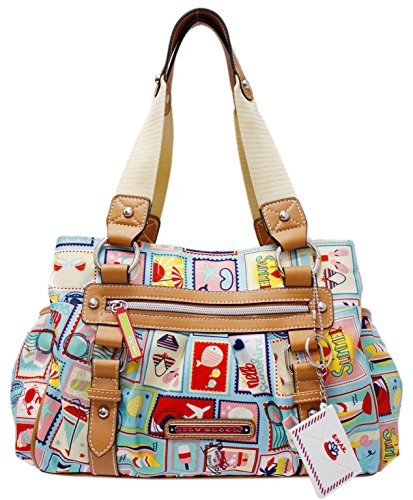 Lily Bloom Triple Section Landon Multi-Purpose Satchel Bag (SUMMER VACATION)