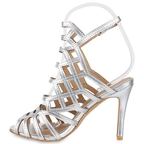 Stiefelparadies Damen Sandaletten High Heels Schaftsandaletten Stilettos Lack Metallic Partyschuhe Nieten Strass Fransen Lace Up Schuhe Flandell Silber Riemchen Schnalle