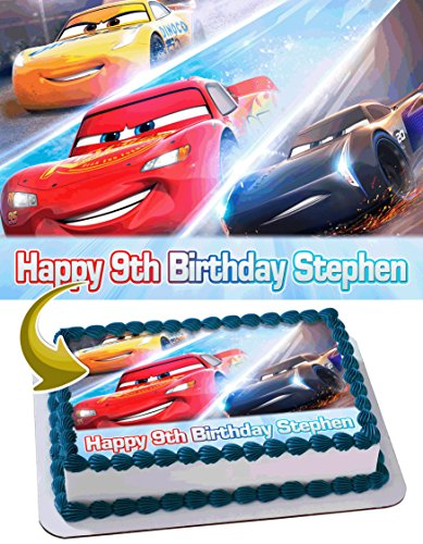 Cars 3 Disney Pixar Personalized Cake Toppers Icing Sugar Paper A4 Sheet Edible Frosting Photo Birthday Cake Topper 1/4 ~ Best Quality Edible Cake Image!