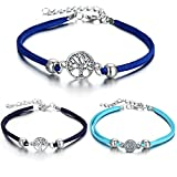 LAIMIO 3 Pcs Anklets Bracelet-Women Anklet Boho Beads Antique Silver Life Tree Foot Chain Beach Jewelry