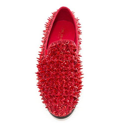 Jump Newyork Uomo Signore Tondo, In Tessuto E Pelle Metallizzata Spike Slip-on Smoking Slipper Dress Loafer Red
