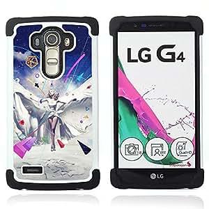 """LG G4 H815 H810 H811 LS991 LS986 US991 H815 U812 - 3 en 1 impreso colorido de Altas Prestaciones PC Funda chaqueta Negro cubierta gel silicona suave (Resumen Pop Art Girl"""")"""