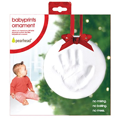 Pearhead New and Improved Babyprints Baby Handprint or Footprint Keepsake Ornament - Makes A Perfect Holiday Gift, Holiday
