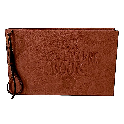 LINKEDWIN Our Adventure Book, Up Themed Scrapbook, Leather Covers with Debossed Words, 11.6 x 7.5 inch, 80 Pages (Light Brown)