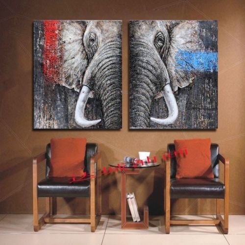 Stretched Frame Hand Painted Oil Paint Promotion Free Shipping Big Elephant Picture Oil Painting Canvas picture oil painting living room wall painting 16x20inchx2(40x50cmx2) felbersweebky