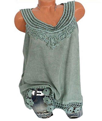 Femme pissure Mode Haut Vest Casual Dentelle Blouses T Tops Manche t Smalltile Rond Vert Jeune sans Col Shirt EYtqx5nnwF