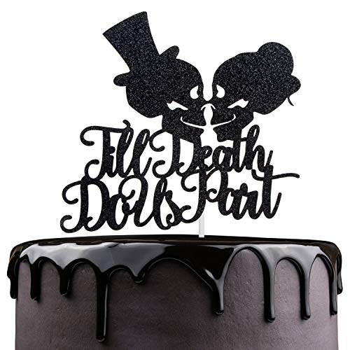 Till Death Do Us Part Wedding Cake Topper - Dia De Los Muertos Sugar Skull Cake Décor - Halloween Skeleton Day Of The Death - Gothic Mr Mrs Wedding Party Decoration ()