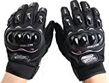 Motorcycle Accessories Pro-Biker Motocross Racing ATV UTV Outdoor Sport Finger Protective Carbon Fiber Gloves Black Size M For HONDA TRX500FPM 2008 2009 2010 2011 2012 2013 2014