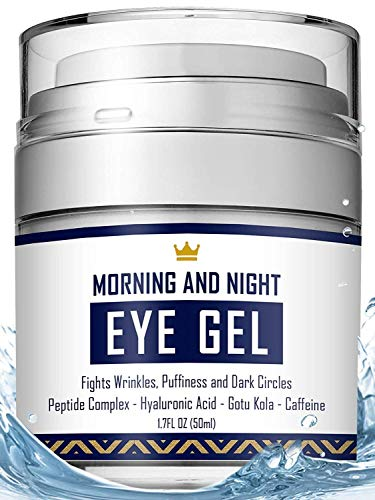 Eye Cream - Dark Circles & Under Eye Bags Treatment - Reduce Puffiness, Wrinkles - Effective Anti-Aging Eye Gel with Hyaluronic Acid, Gotu Kola Extract and Caffeine - Refreshing Serum 1.7oz