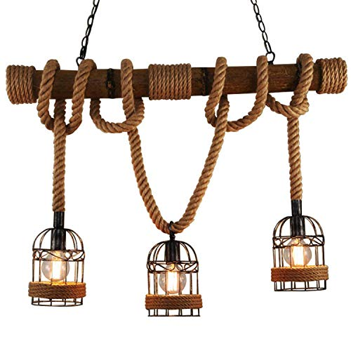 Chandelier 5 Light Candlestick (DEI QI Retro Vintage Ceiling Light Rope Lights Chandelier Rustic Hemp Rope Iron Candlestick Pendant Lamp Lighting 3 E27 Edison Dining Table Lamp)