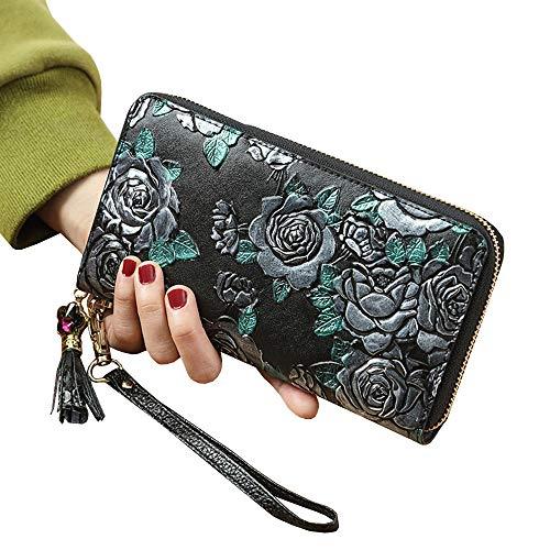 Blansdi Women Floral Long Wallet Purse Genuine Leather Clutch Zipper Closure Card Holder Organizer Wristlet Silver Rose