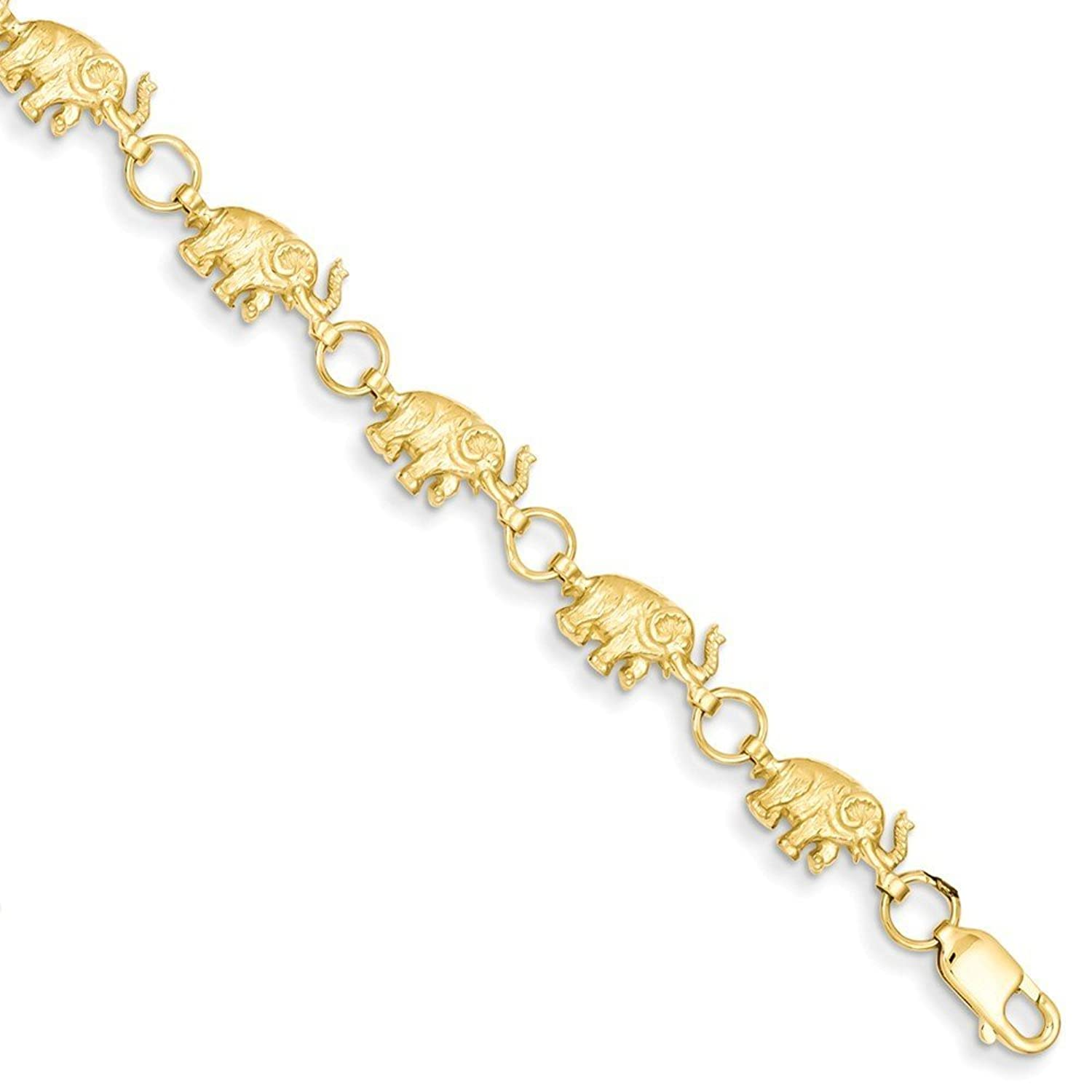 14K Gold 8in Diamond-cut Small Elephants with Trunks Raised Bracelet 8 Inches