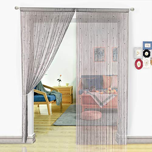- HSYLYM String Curtain with Pearl Beads Dense Fringe Beaded Door Tassel Curtains (100X200cm,Grey)