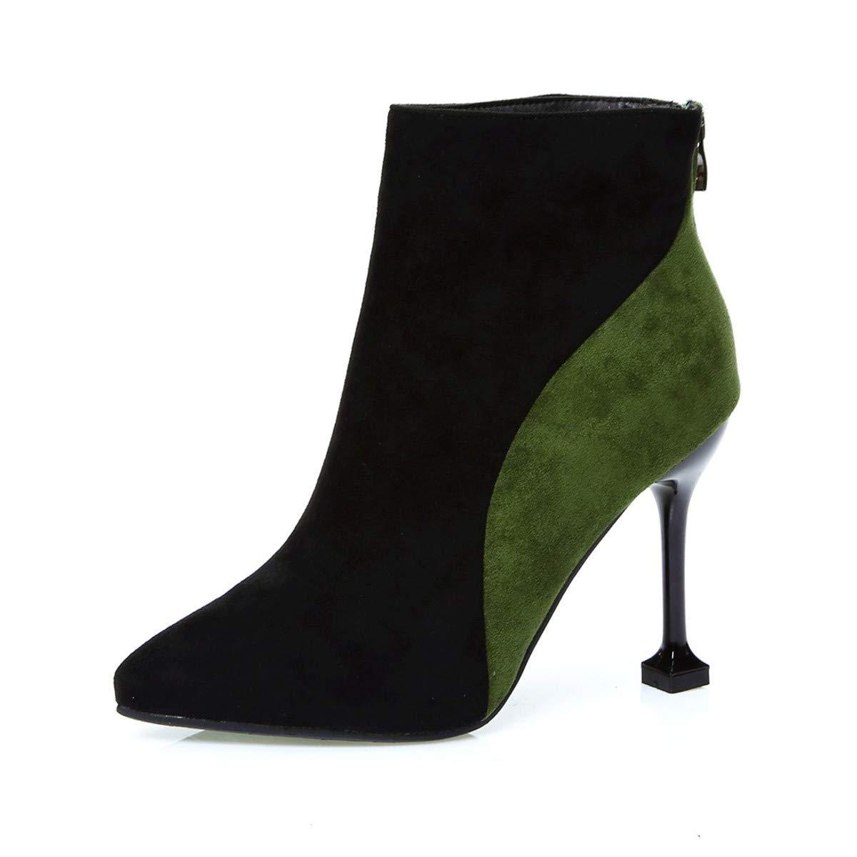 LBTSQ-Wildleder Spitze Farbe Temperament 10CmSchlank Wasserdicht Hochhackigen Stiefel Kurze Stiefel.
