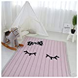 Ustide Pink Crawling Mat For Girls,Pure Color Simple Washable Area Rugs For Kids,Large
