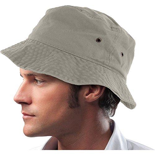 (Mens 100% Cotton Fishing Hunting Summer Bucket Cap Hat (S/M, Gray) )