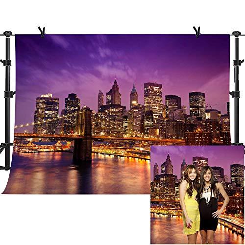 (MME 10x7Ft New York City Background Beautiful Brooklyn Bridge Night Seamless Vinyl Background Video Studio Photograph Backdrop LXME599)