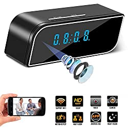 Spy Camera Mini WiFi Hidden Camera with Alarm Clock,Cloud Cam,HD 1080P Security Surveillance Cameras Nanny Cam with Motion Detection,Video Recording/Remote Monitoring with iOS/Android App