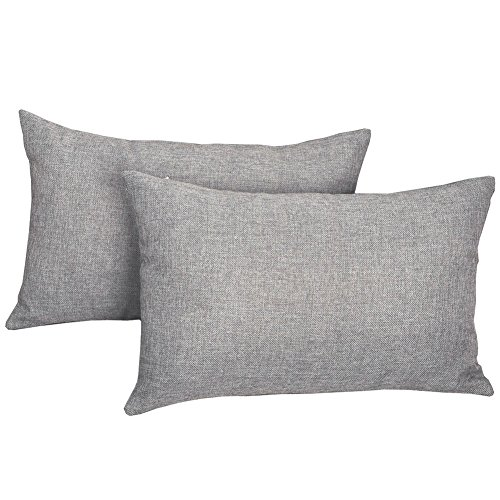 MRNIU 2PCS Pillow Covers Fine Linen Home Decorative Soft Pillow Case Covers with Zipper for Chair No Pillow Insert (12 x 20, Neutral Grey) by MRNIU