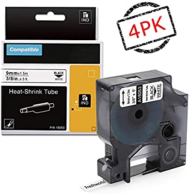 2PK Black on WHITE VINYL LABEL Tape 9mm 18443 for DYMO RHINO