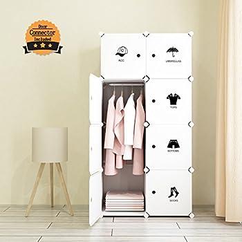 Tespo Portable Clothes Closet Wardrobe, Freestanding Bedroom Armoire  Storage Cabinet Organizer With Doors, White