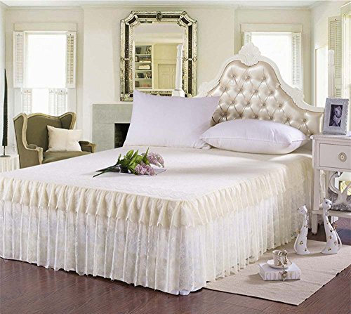 Princess Romantic Lace Bedding Fitted Sheet (Bed Skirt)/Valance Twin Full Queen King Size (Queen, Yellow)