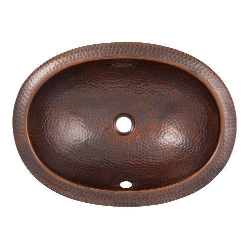 Cast Stone Sinks (The Copper Factory CF152AN Solid Hand Hammered Copper Oval Undermount Lavatory Sink, Antique Copper)