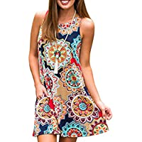 Womens Crew Neck Printed Sleeveless Casual Tunic Tops Summer Swing Tee Shirt Dress with Pockets (Navy Blue, S)