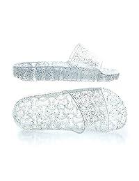 Women's Slide Sandals,Thong Sandals,Transparent Glitter Jelly Footbed Slipper,Slip-On Flat Flip-Flops