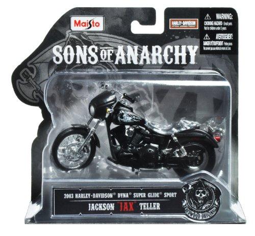 Maisto Sons Of Anarchy 2003 Hd Dyna Superglide Sport Jackson  Jax  Teller Diecast Vehicle  1 18 Scale