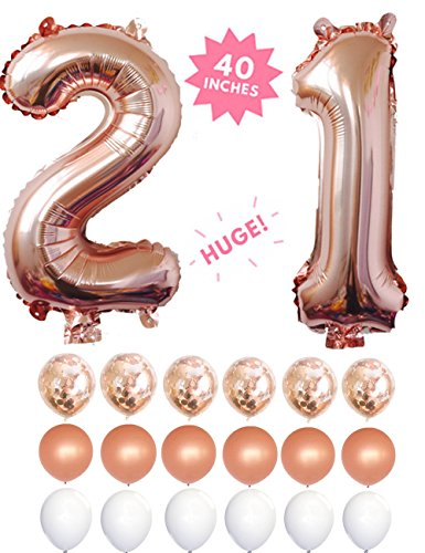 21 Rose Gold 40 Inch Huge Giant Number Balloons Foil Mylar Number Balloons With Set of 6 Matte Rose Gold Confetti Balloons & 12 Latex Balloons For Anniversary,21th Birthday Decorations